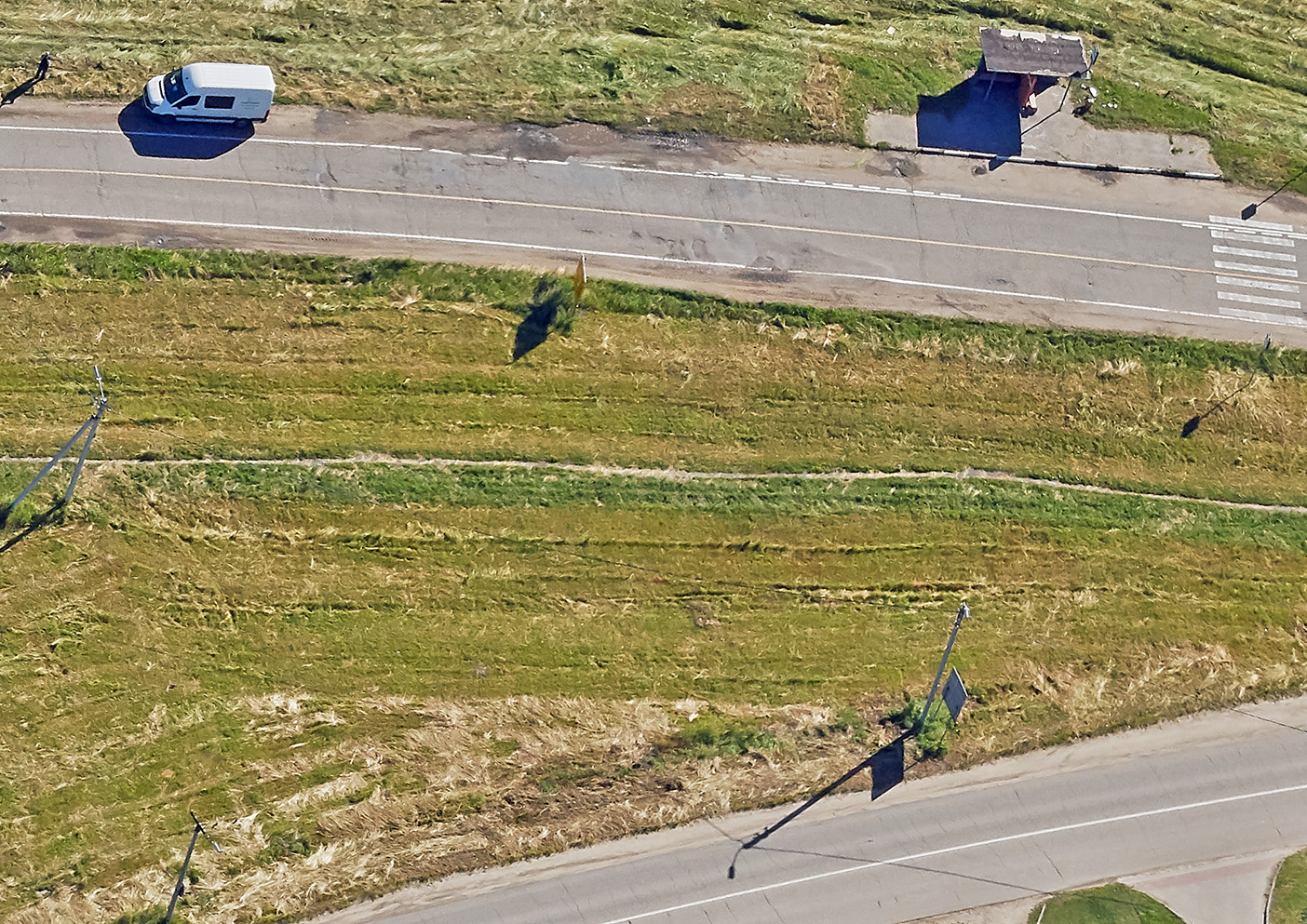 Наклонный аэрофотоснимок дороги
